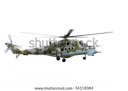 Mi 24 D attack helicopter on isolated white background.