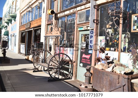 Miami, Arizona. U.S.A. January 30, 2018.  Arizona copper mining town: boom 1910 to bust 1950s.  Antiques stores, old buildings, jalopies and shuttered businesses and homes offer much to history buffs