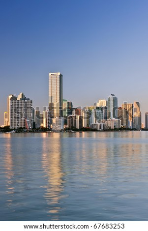 miami bayfront skyline on cloudless late winter afternoon