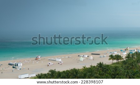 Miami Beach after storm.  Ocean water surface under dark sky. Great impression of distance and solitude Panorama to the horizon, view from above.