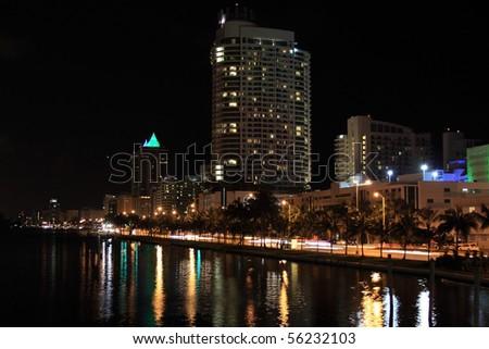 Miami Beach at night , Florida