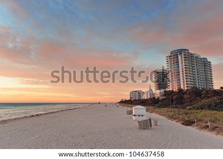 Miami Beach at sunset with colorful clouds