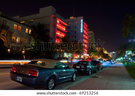 MIAMI BEACH - CIRCA JULY 2009: Night view on Ocean drive circa July 2009 in Miami Beach, Florida. Art Deco Night-Life in South Beach is one of the main tourist attractions in Miami.
