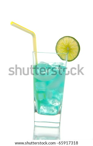 Miami Beach Iced Tea Cocktail with vodka, light rum, gin, tequila, blue curacao, lime juice, lemonade, lime wheel and straw isolated on a white background