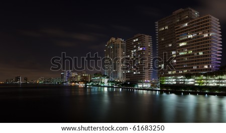 Miami Beach Inter Coastal Waterway Skyline view from the MacArthur Causeway.