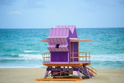 Miami Beach Lifeguard Stand in the Florida sunshine. South Beach. Travel holiday ocean location concept