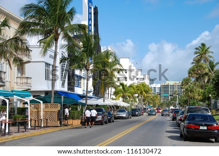 MIAMI BEACH, USA - JAN 7: Beautiful view of Ocean drive on January 7, 2008 in Miami Beach, Florida. Art Deco architecture in South Beach is one of the main tourist attractions in Miami