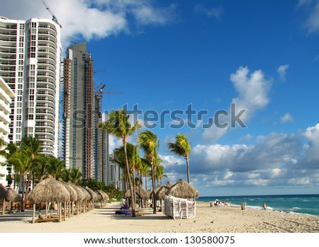 Miami Beach view in winter time with building under construction