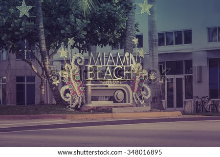 miami beach welcome sign with...