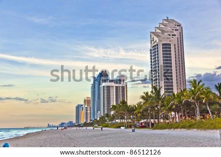 Miami beach with skyscrapers