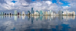 Miami cityscape skyline from Rickenbacker causeway looking like sea level has risen