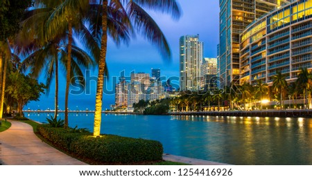 Miami Downtown, Brickell Key at Night #1254416926