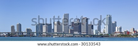 Miami downtown panorama business and residential buildings
