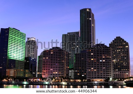 miami downtown skyscrapers at night