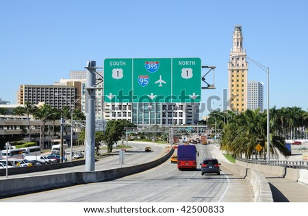 Miami Downtown view from Port Boulevard, Florida USA