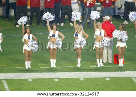 MIAMI - FEB 4: Indianapolis Colts cheerleaders cheer during Super Bowl XLI between the Indianapolis Colts and Chicago Bears at Dolphins Stadium on February 4, 2007 in Miami, Florida.