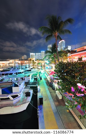 MIAMI, FL - FEB 8: Bayside Marketplace at night on February 8, 2012 in Miami, Florida. It is a festival marketplace and the top entertainment complex in Downtown Miami attracting 15M people annually.