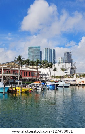 MIAMI, FL - FEB 7: Bayside Marketplace in day on February 7, 2012 in Miami, Florida. It is a festival marketplace and the top entertainment complex in Downtown Miami attracting 15M people annually. - stock photo