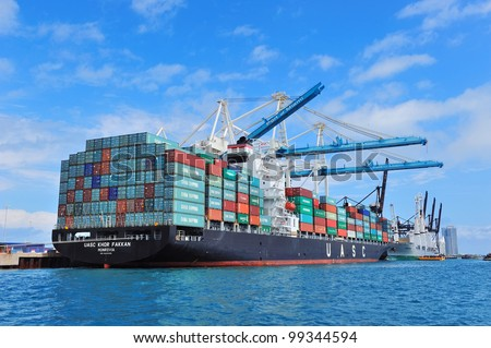 MIAMI, FL - FEB 10: Port of Miami with blue clear sky on February 10, 2012 in Miami, Florida. It is the 11th largest cargo port in the US.