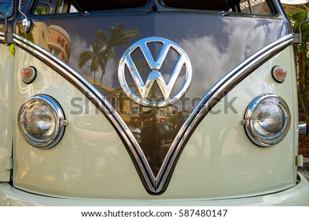 Miami, FL USA - February 12, 2017: Close up view of the front end of a vintage Volkswagen double cab automobile. #587480147