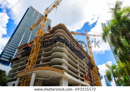 Miami, Florida - August 8, 2017: Fish eye view of the Flatiron construction project underway in the popular Brickell area in downtown Miami.