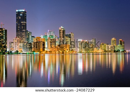 miami florida bayfront  skyline at dusk with lights shimmering in water, 2009