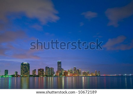 miami florida bayfront skyline at dusk with lots of copy space - stock photo