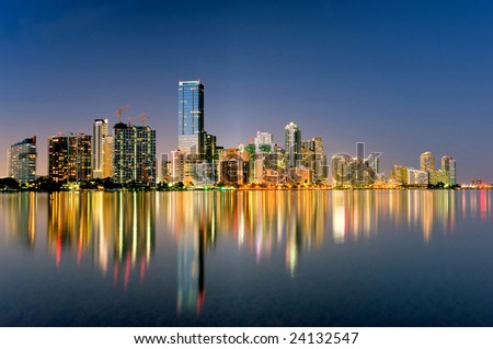 miami florida biscayne bay city skyline and shimmering lights at night, 2009