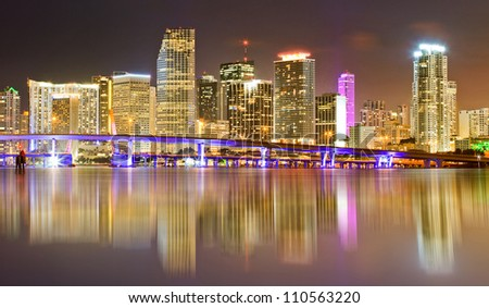 Miami Florida illuminated downtown buildings at night with reflections in the water of Biscayne Bay. Panoramic skyline of the World famous travel location
