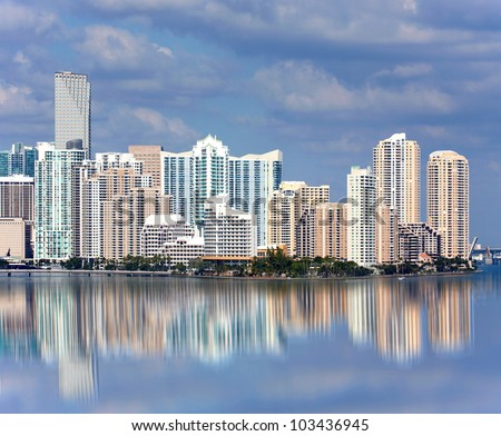 Miami Florida panorama of downtown residential and office buildings and hotels, with Biscayne bay water reflections and colorful sky on a beautiful day. Famous travel location