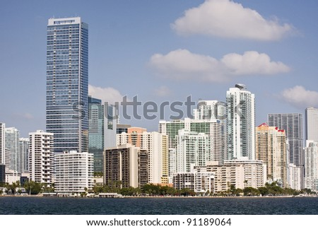 Miami Florida panorama of downtown residential and office buildings and hotels, with Biscayne bay waters and blue sky on a beautiful sunny day. Famous travel location.
