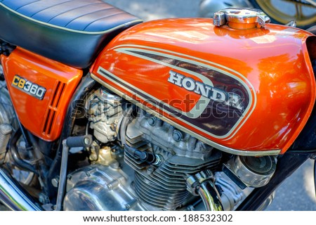 MIAMI, FLORIDA USA -?? APRIL 12, 2014: Close up of a vintage Honda motorcycle on display at the Old Soul Young Blood Vintage Motorcycle festival.