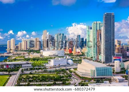 Miami, Florida, USA downtown cityscape.