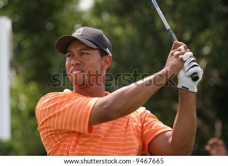 MIAMI, FLORIDA, USA - FEBRUARY 22 : Tiger Woods at World golf championship, Doral, Miami, FEB 22, 2007, Florida - stock photo