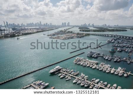 Miami, Florida / USA July 2015: view Miami Bay from building cityscape  #1325512181