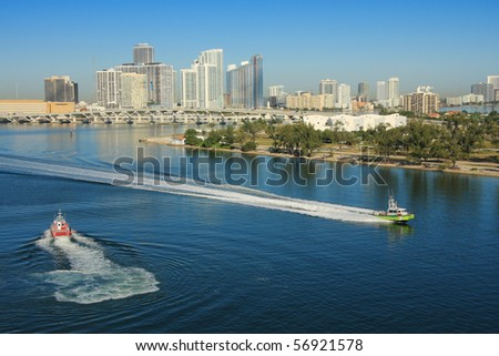 Miami in day time and shore gard boat , Florida, USA.