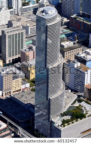 """MIAMI - JANUARY 11: One of Miami's most well known downtown high rises has received a new name : The Bank of America Tower at International Place was renamed """"Miami Tower,"""" January 11, 2010 in Miami."""