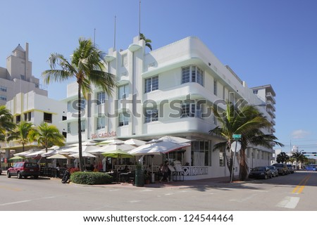 MIAMI - JANUARY 12: The Carlyle Hotel, located at 1250 Ocean Drive, was built in 1939 and remains an iconic Art Deco landmark of a greatly celebrated bygone era January 12, 2013 in Miami, Florida.