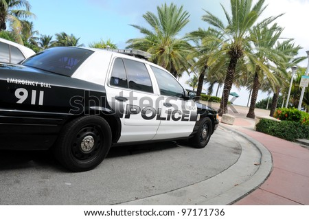 MIAMI-OCT 31:Miami beach police car on October 31, 2010 in Miami,USA.The Miami Beach Police D. is the police department of the U.S. city of Miami Beach, Florida, patrolling the entire Miami Beach area
