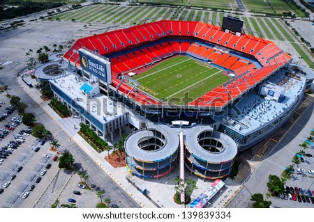 MIAMI-OCTOBER 25: Sun Life Stadium in Miami, FL on October 25,2010. Home of the Miami Dolphins (NFL) and Florida Marlins (MLB) from 1993 to 2011, it opened in 1987 and has a capacity of 80000