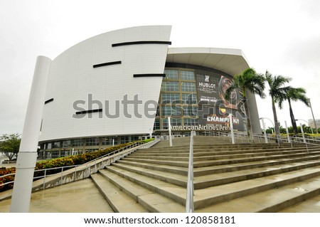 MIAMI - OCTOBER 26: the American Airlines Arena home to the Miami Heat, 2012 NBA champions , built in 1998 forms an impressive backdrop to the downtown Miami area on october 26, 2012, Miami, Florida