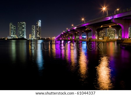 Miami Skyline along the MacArthur Causeway Bridge.