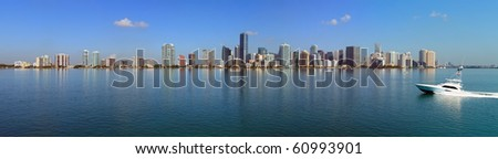 Miami Skyline and Biscayne Bay Panorama
