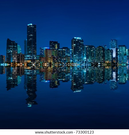 Miami skyline at night - panoramic image