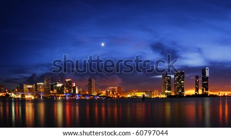 Miami skyline at night right after sundown