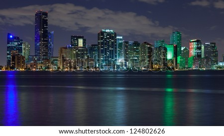 Miami skyline at night, seen from Key Biscayne.
