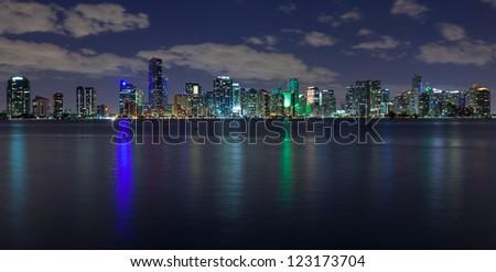 Miami skyline at night, seen from Virginia Key.