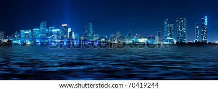 Miami skyline at night with beautiful water reflections