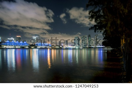 Miami Skyline at the night with the One Thousand Museum: the new high-rise residential condominium. The building is located at 1000 Biscayne Boulevard, across from Museum Park