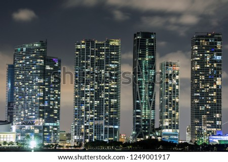 Miami Skyline at the night with the One Thousand Museum: the new high-rise residential condominium. The building is located at 1000 Biscayne Boulevard, across from Museum Park, Miami, Florida, Usa.